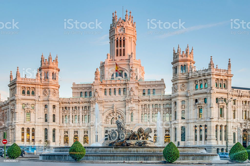Cibeles Fountain at Madrid, Spain stock photo