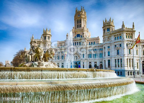 Famous Cibeles Fountain on a sunny day.