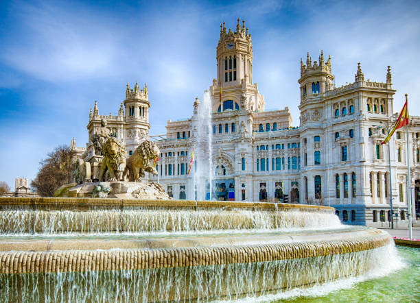 Cibeles Fountain In Downtown Madrid, Spain stock photo