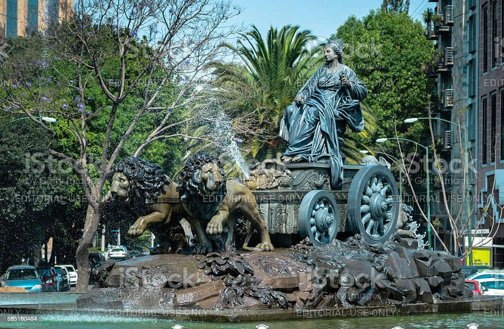Cibeles fountain replica in Mexico City stock photo