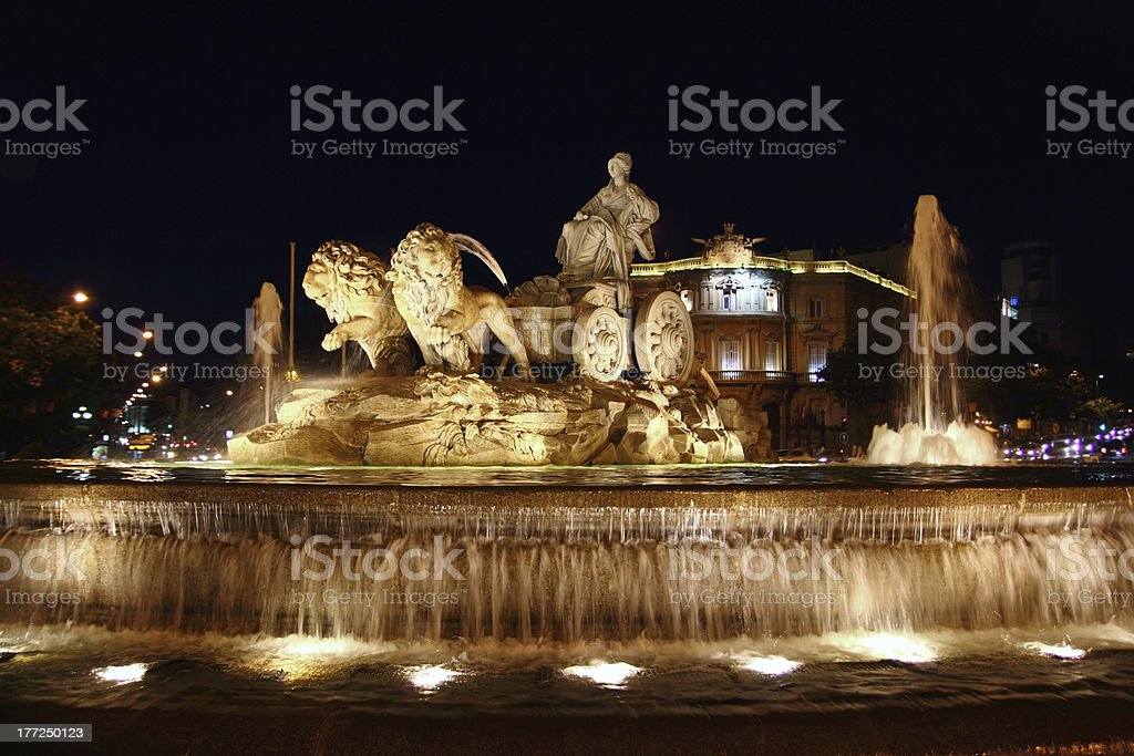 Cibeles night statue in Madrid Paseo Castellana stock photo