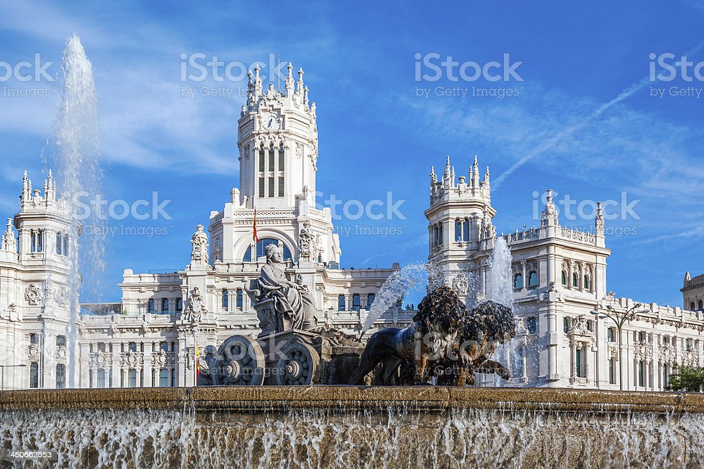 Cibeles Palace and fountain stock photo
