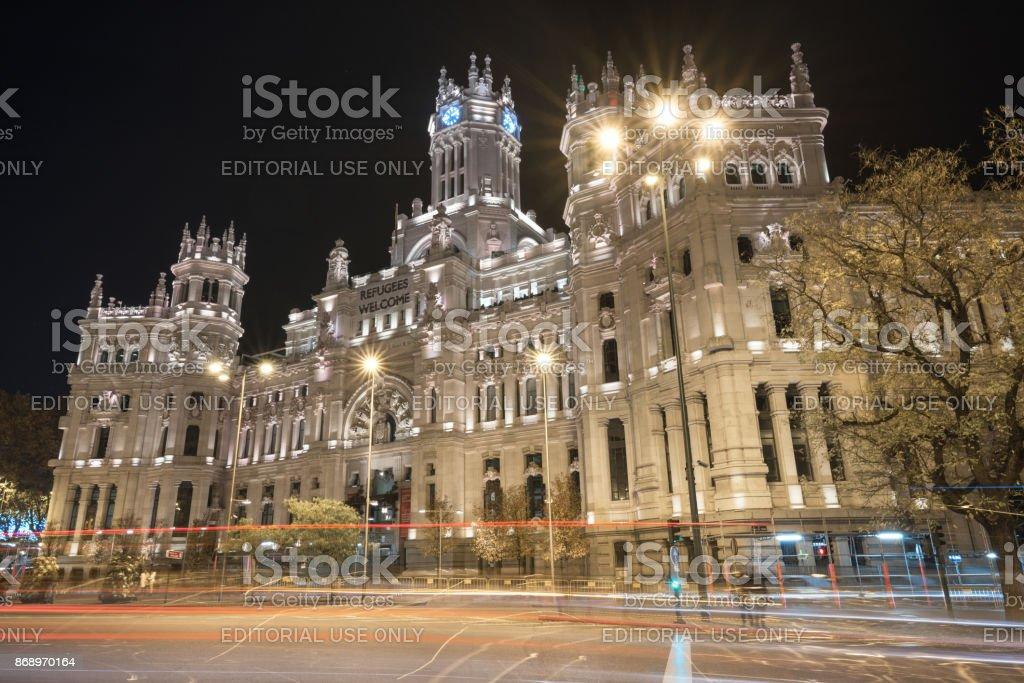 Foto De Palácio De Cibeles Noite Cena Madrid City Hall