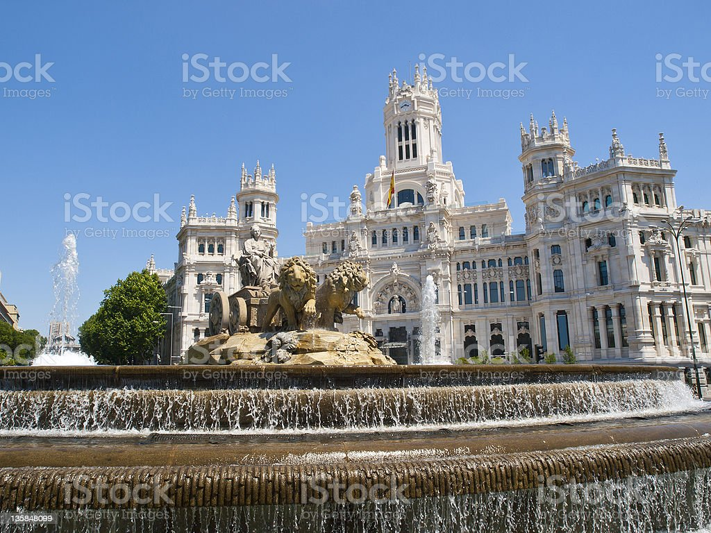 Cibeles Square and Palacio de Comunicaciones, Madrid stock photo