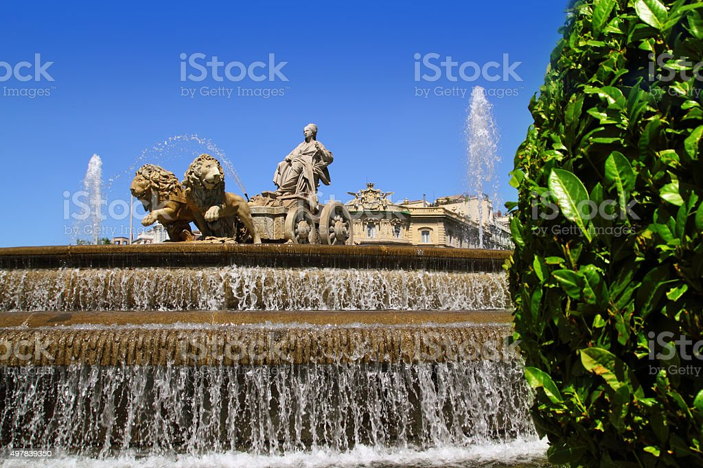 Cibeles statue Madrid fountain in Paseo Castellana stock photo