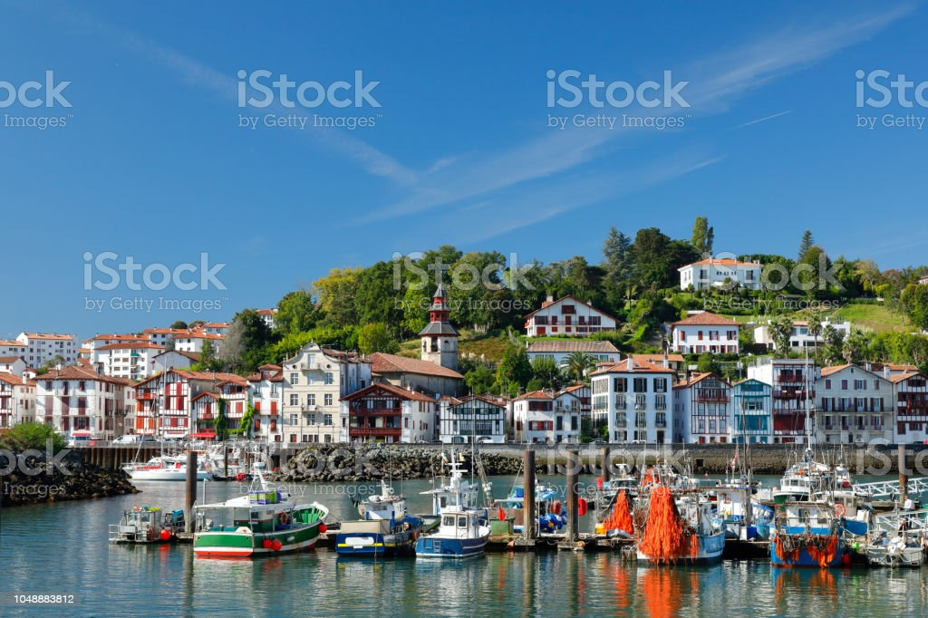 Ciboure and Harbor of Saint Jean de Luz, France stock photo
