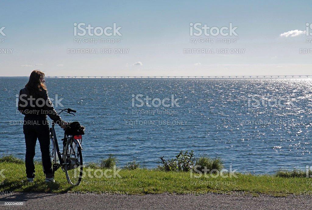Ciclyst looking at the Zeeland bridge stock photo