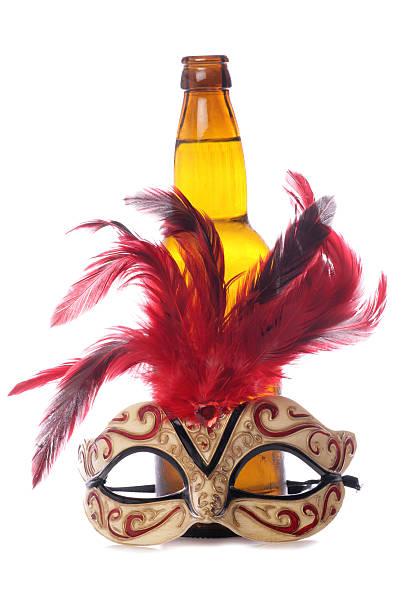 cider und karnevalsmaske - bier kostüm stock-fotos und bilder
