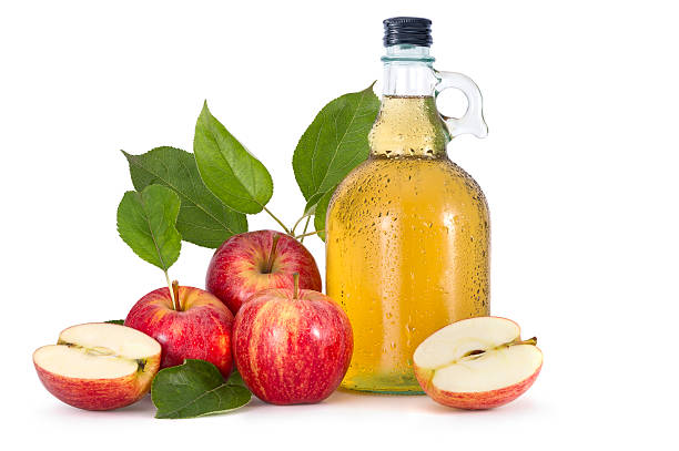 Cider and red apples stock photo