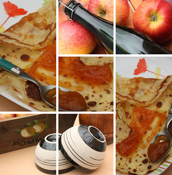 cidre - crêpe à la confiture - apfelweinkuchen stock-fotos und bilder