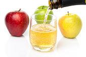 サイダー、3 種類のアップル
