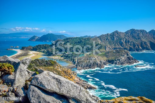 istock Cies Islands, Vigo, Spain. Vigo estuarys greatest treasure. Galicia. 1177605914