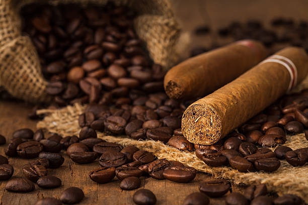 cigar and coffee bean in small sack – Foto