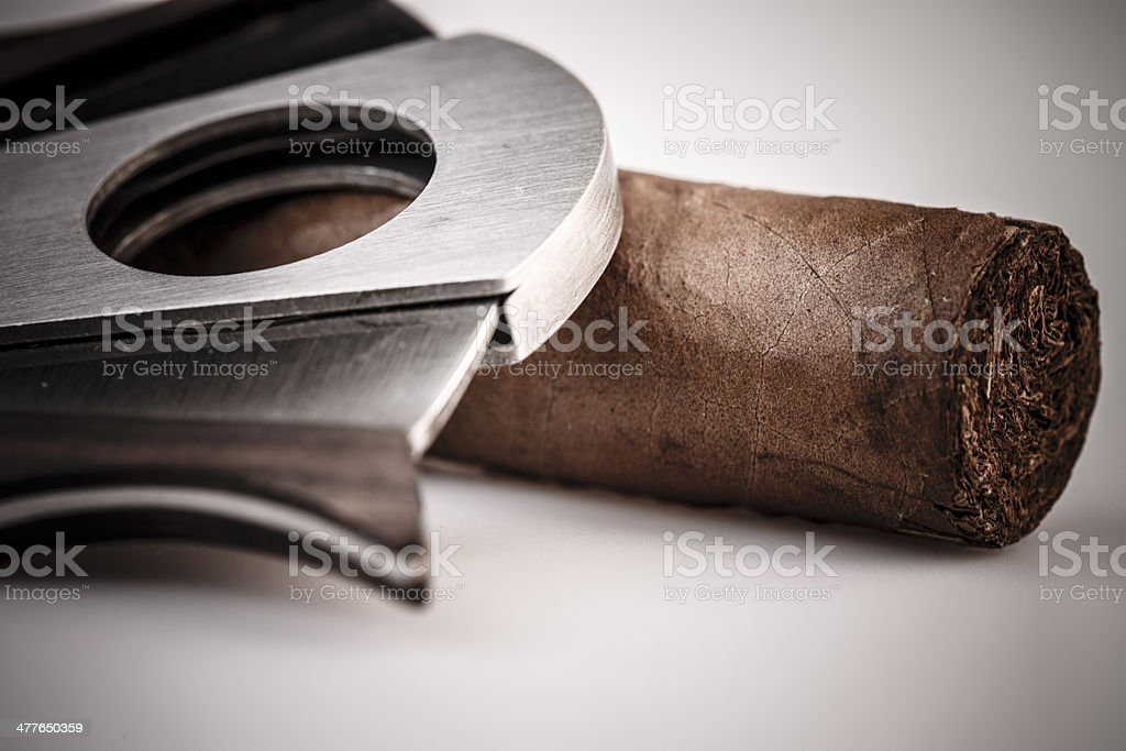 Cigar and cutter on a white background royalty-free stock photo