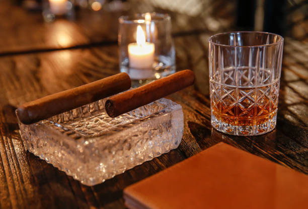 Cigar and whiskey pairing stock photo