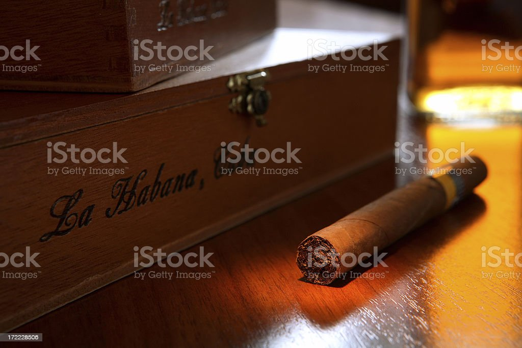 cigar, boxes and whiskey 4 stock photo