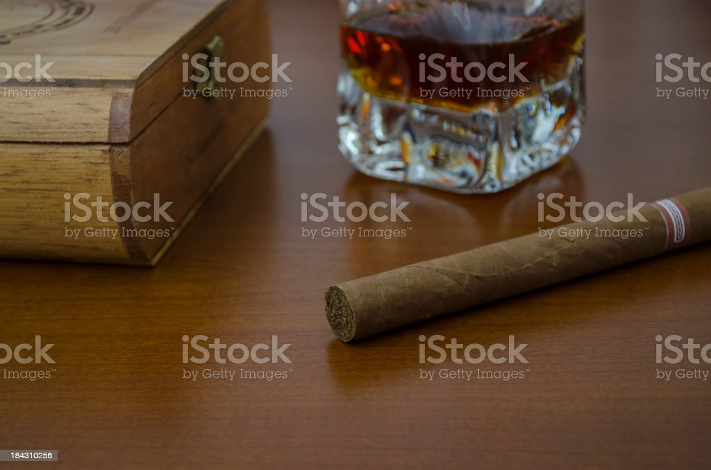 cigar boxes and whiskey stock photo