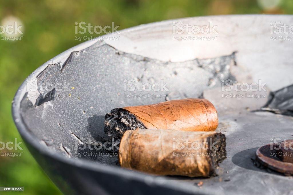 Cigar stubs in an ashtray stock photo