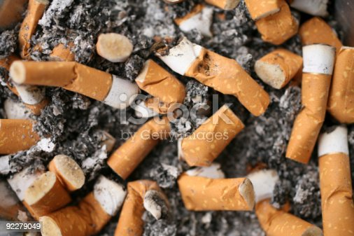 close up shot of cigarette butts.