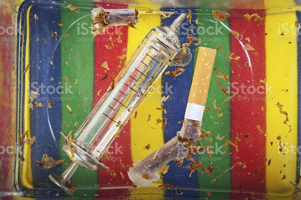 cigarette and drug addiction royalty-free stock photo