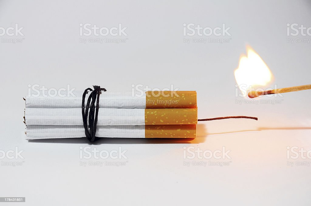 Cigarette bomb royalty-free stock photo