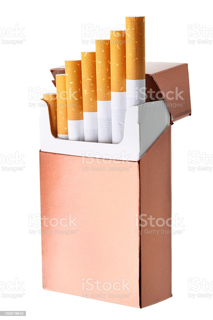 Cigarette box stock photo