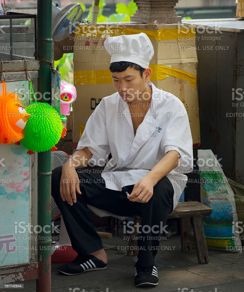 Cigarette Break Chef Shanghai China royalty-free stock photo