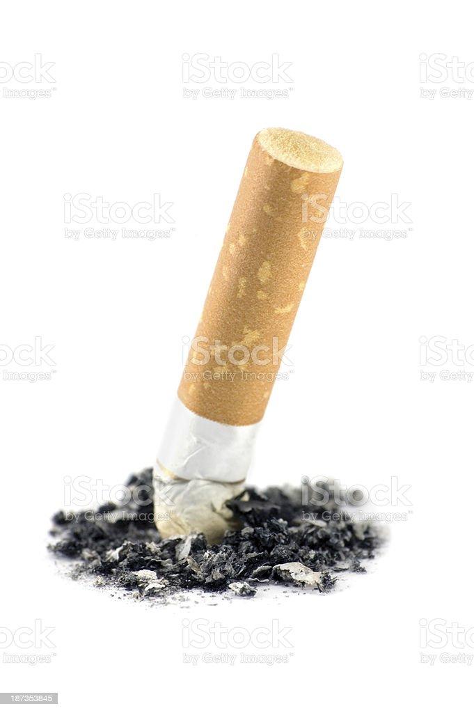 Cigarette butt ash macro detail closeup, isolated studio shot detailed stock photo