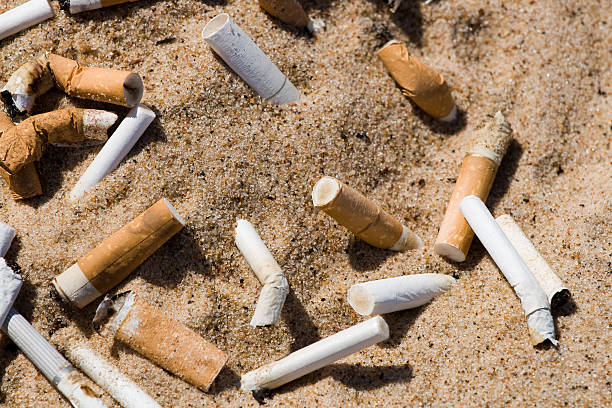 filtro di sigaretta in sabbia - cicca sigaretta foto e immagini stock
