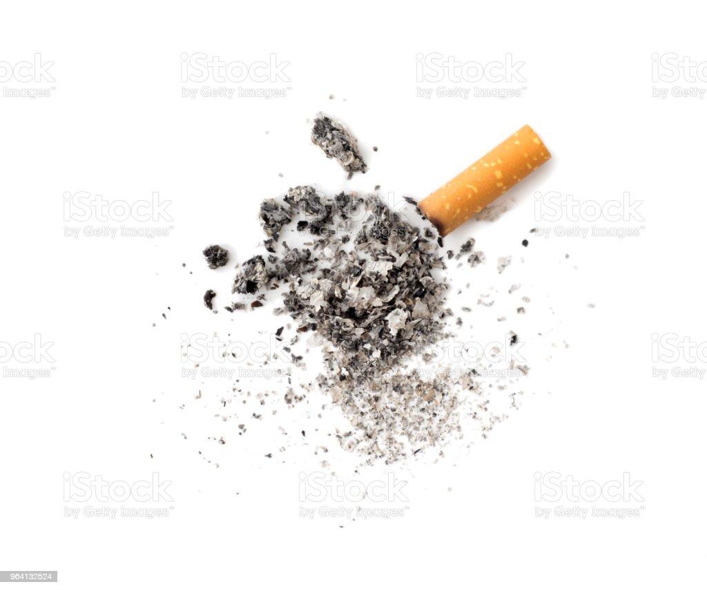 Cigarette butt with ash stock photo