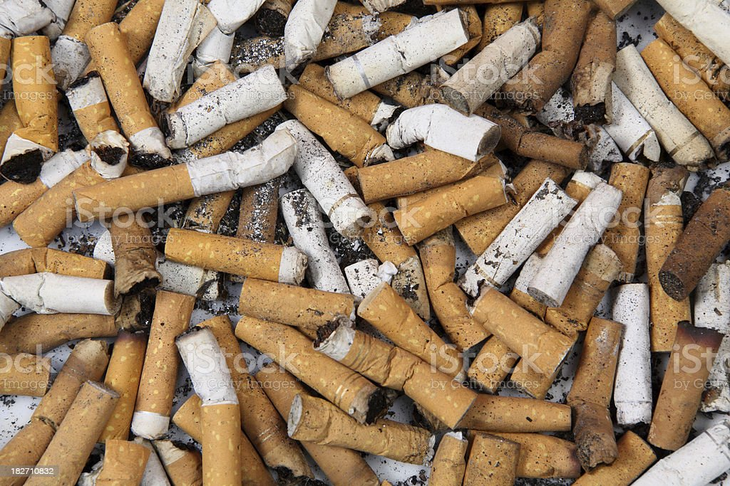 Cigarette Butts Background royalty-free stock photo
