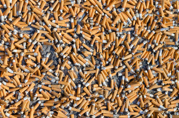 cigarette butts close-up, background - cicca sigaretta foto e immagini stock
