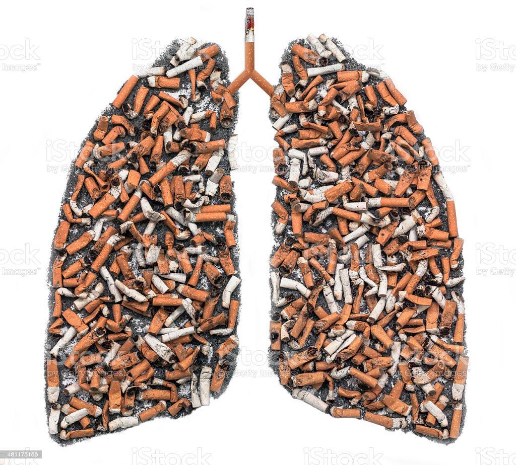 Cigarette butts in pulmonary contour stock photo