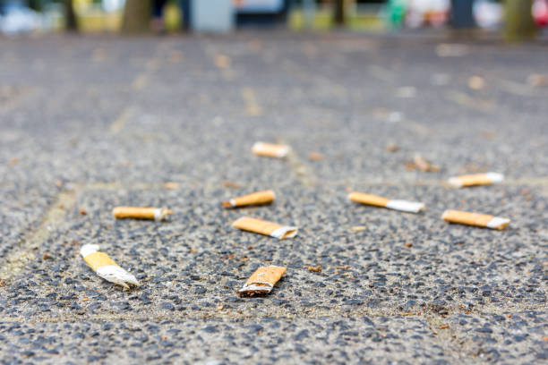 cigarette butts scattered on the street - cicca sigaretta foto e immagini stock