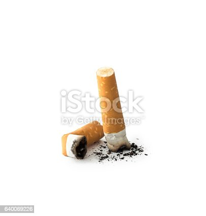 Cigarette butts with ash , isolated on white