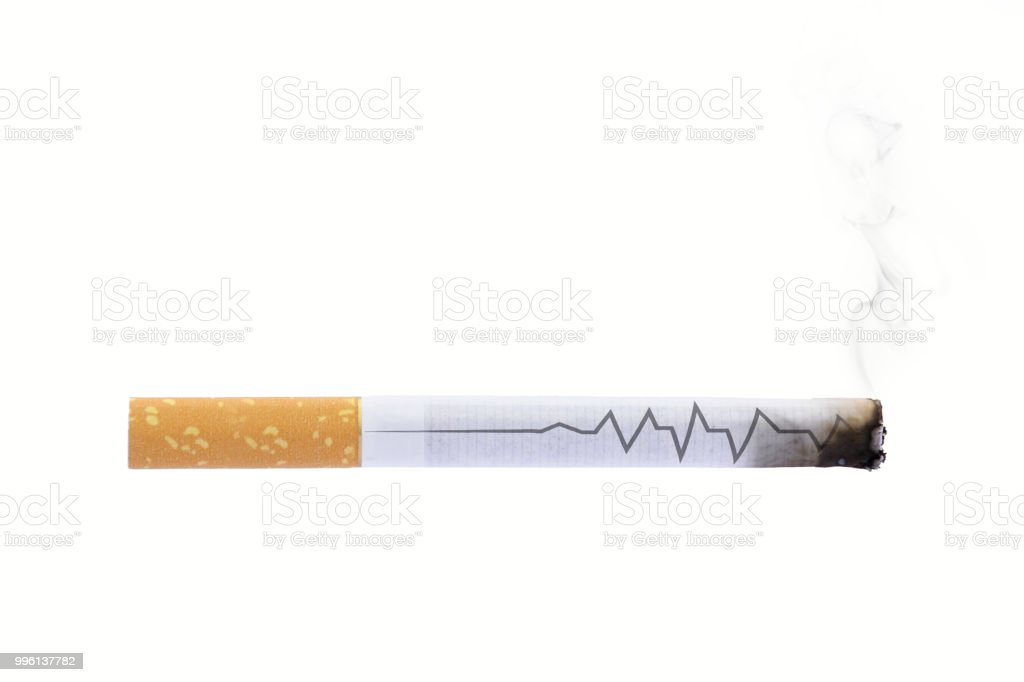Cigarette heartbeat line deadly stop smoking sign stock photo