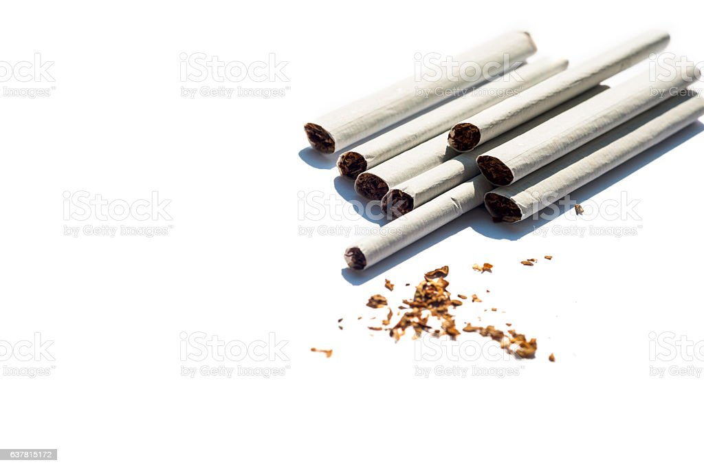 Cigarette isolated on a white background stock photo