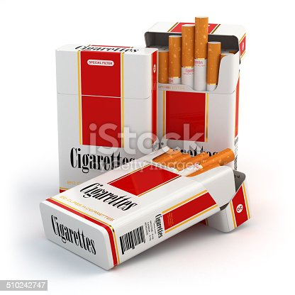 Cigarette pack on white isolated background. 3d