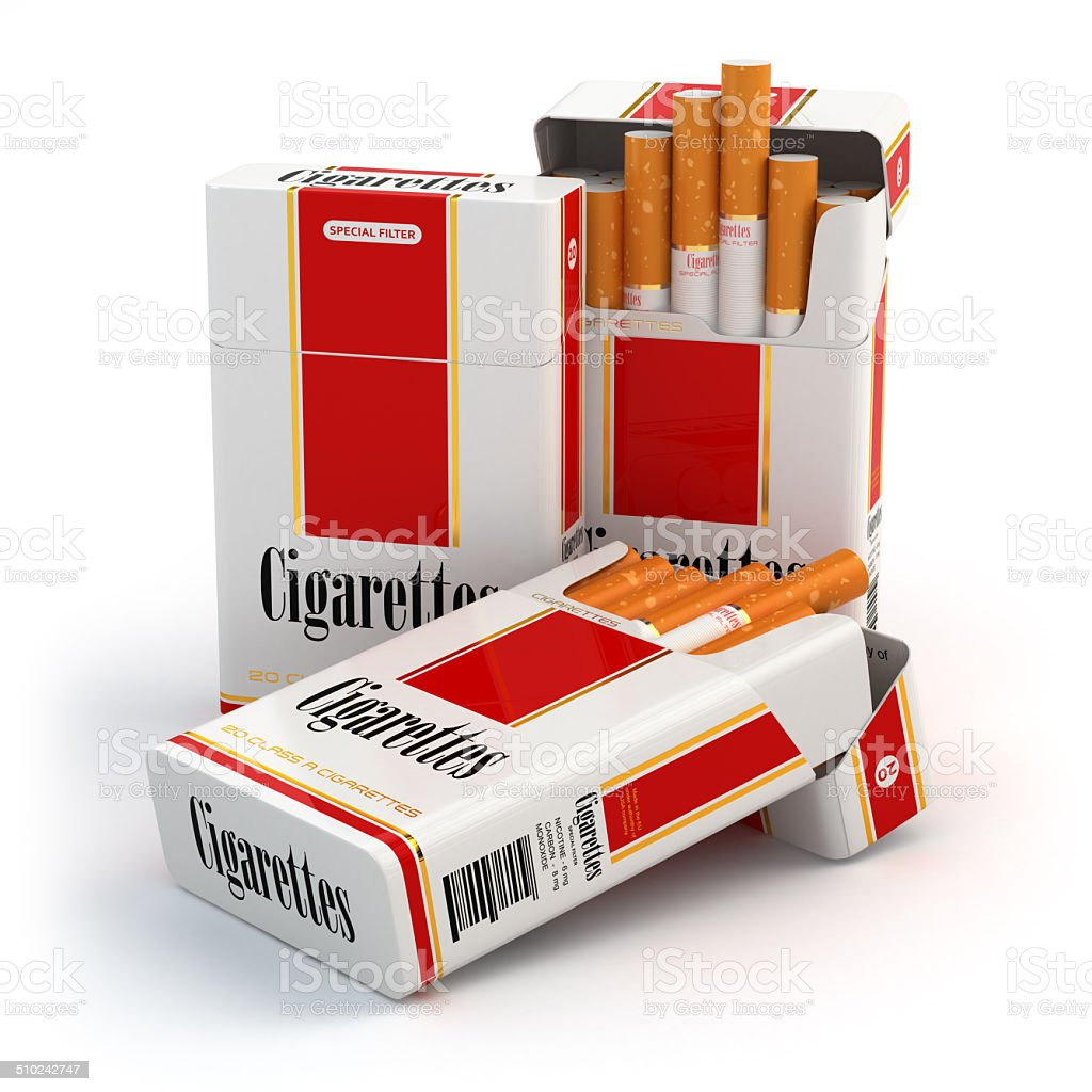 Cigarette pack on white isolated background stock photo
