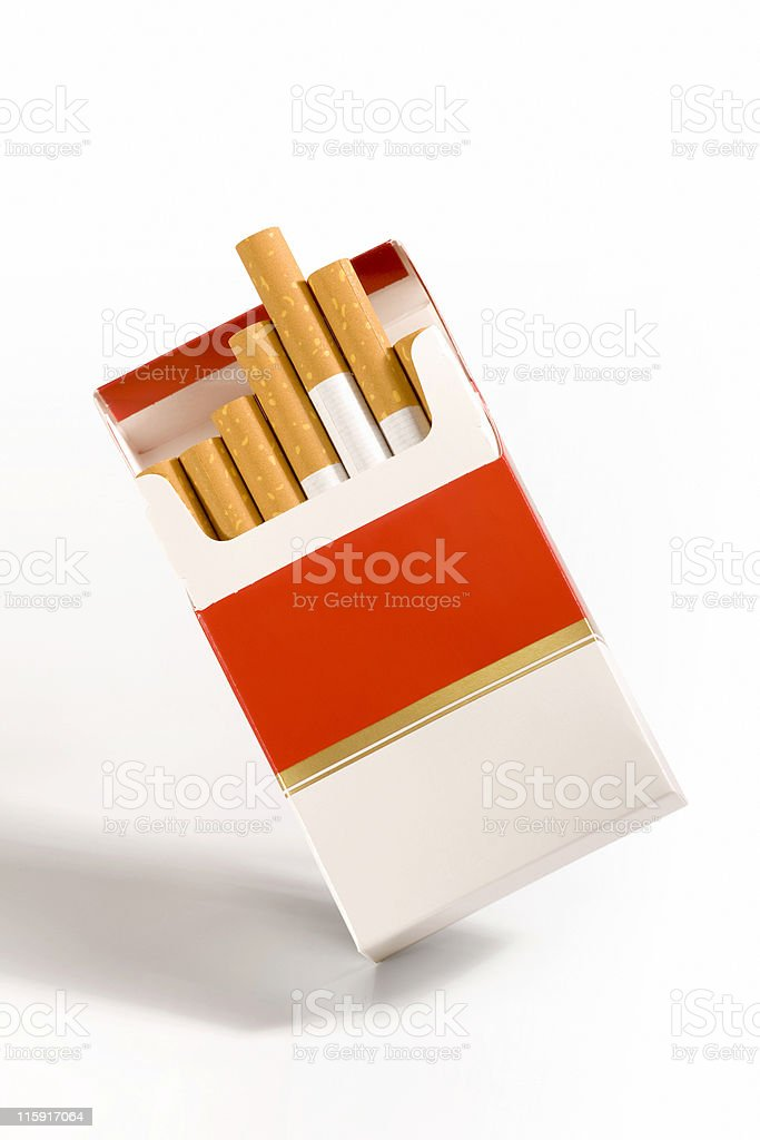 Cigarette packet on white royalty-free stock photo