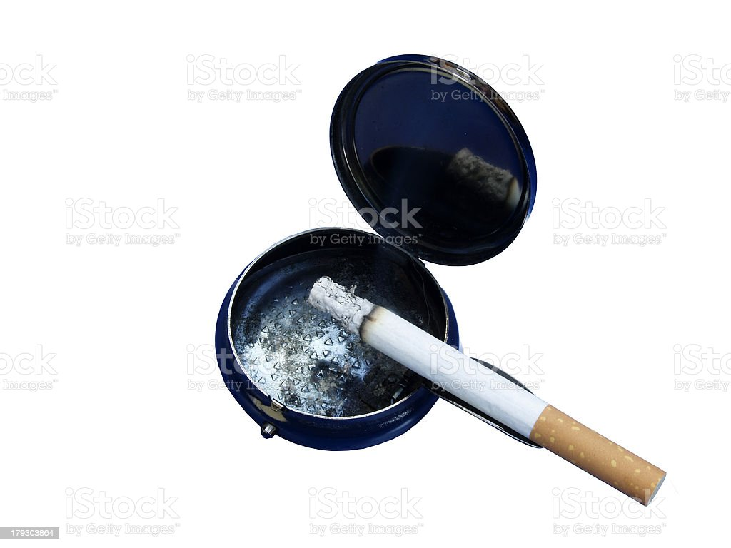 cigarette with ashtray stock photo