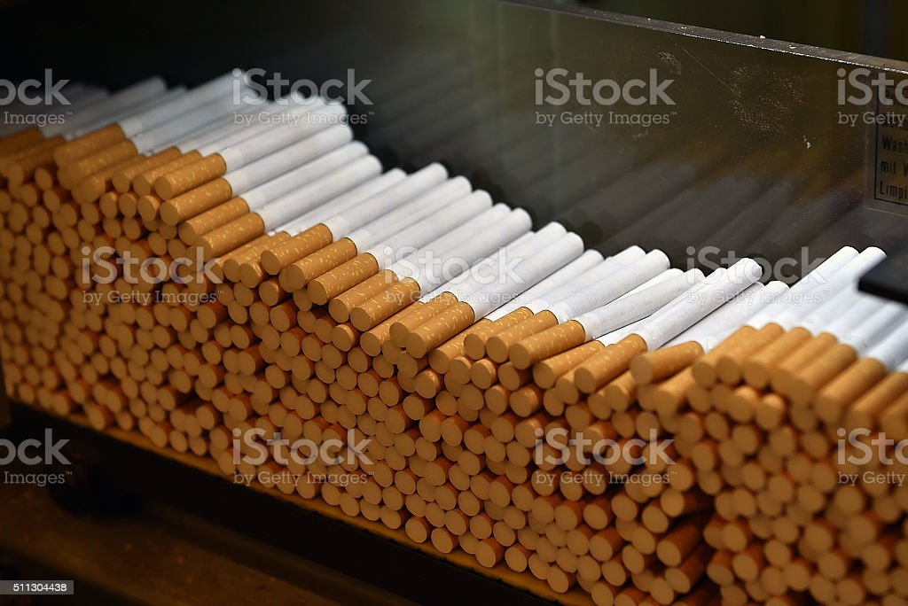 Cigarettes factory stock photo