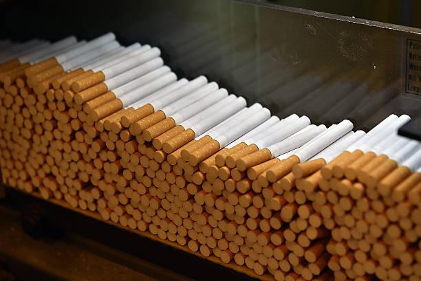 Cigarettes factory stock photo