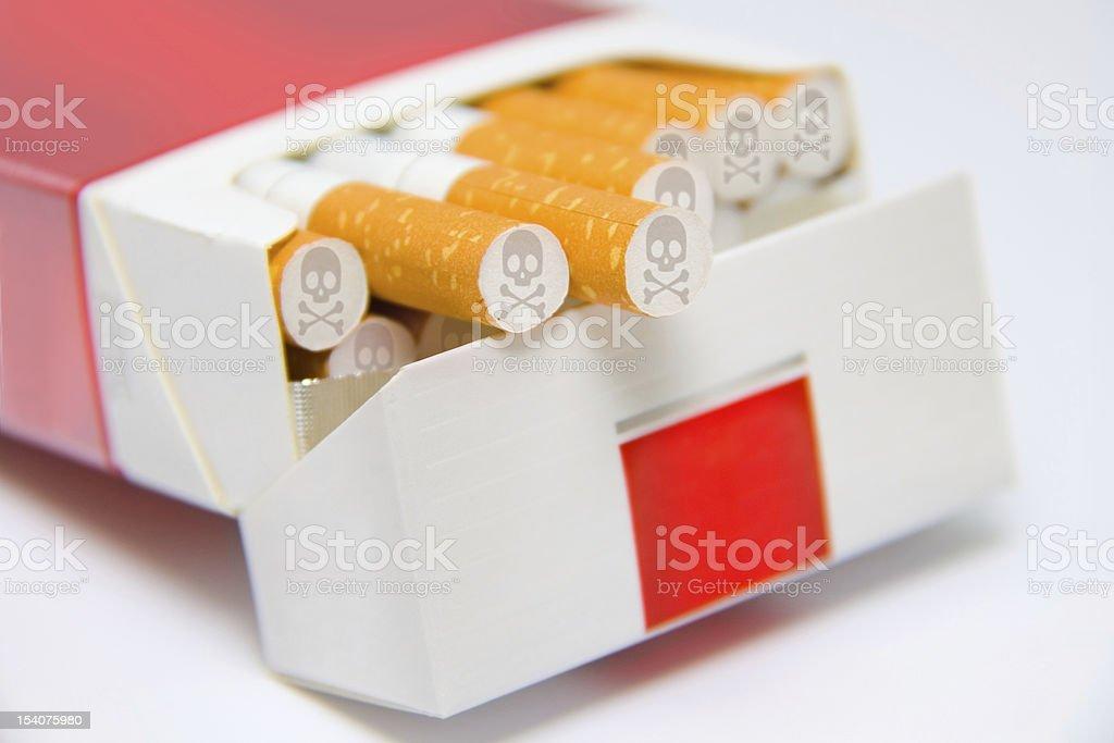 Los Cigarrillos En Caja Marcados Con Cráneo Y Los Huesos Señal Stock ...