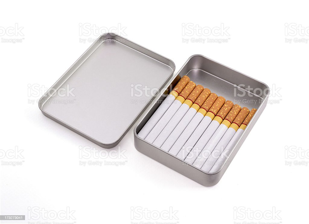 Cigarettes in metal box isolated on white background royalty-free stock photo