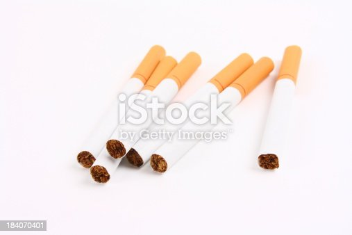Cigarettes on the white background