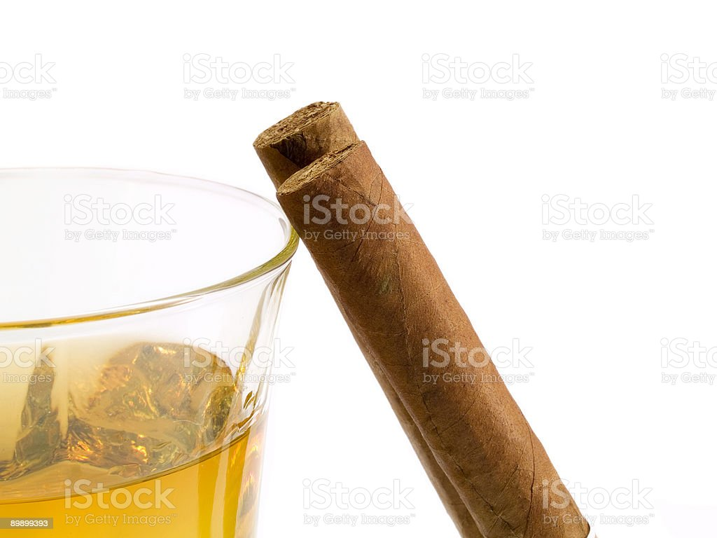 Cigars and whiskey royalty-free stock photo