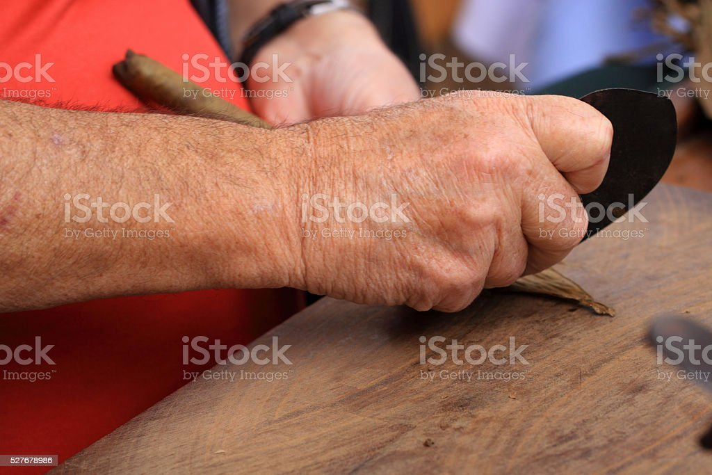 Cigars are made by hand stock photo