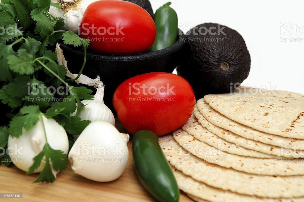Cilantro And Tortillas royalty-free stock photo
