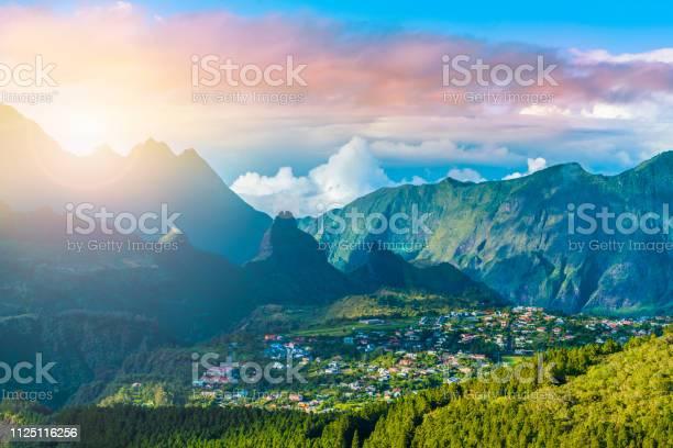 Photo of Cilaos town in Cirque de Cilaos, La Reunion